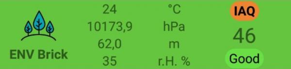Quando Il Blebrick ENV è Connesso Al BLE-B, La MakeApp Mostrerà I Valori Relativi A Temperatura, Pressione Atmosferica, Umidità
