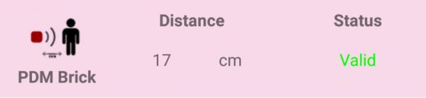 Quando Il Sensore PDM è Connesso Al Tuo BLE-B, La MakeApp Indicherà La Misurazione Di Distanza E Lo Status