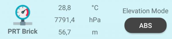 Quando Il PRT è Connesso Al Tuo BLE-B, La MakeApp Mostrerà I Valori Misurati Di Temperatura E Pressione Atmosferica, E Una Stima Dell'altitudine Assoluta. Per Fissare L'altitudine Attuale Come Valore Di Riferimento, Clicca Sul Pulsante ABS: Verrà Mostrata L'altitudine Relativa (REL)