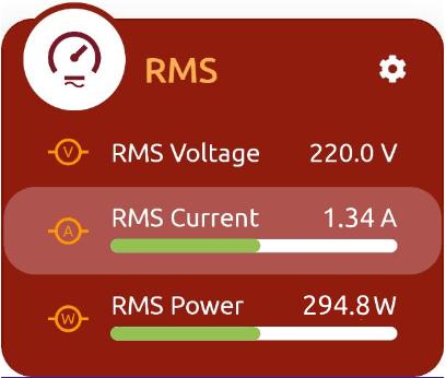 Quando Il RMS è Connesso Al Tuo BLE-B, La MakeApp Mostrerà Il Valore Efficace Di Corrente, La Tensione Di Rete E Il Relativo Valore Di Potenza