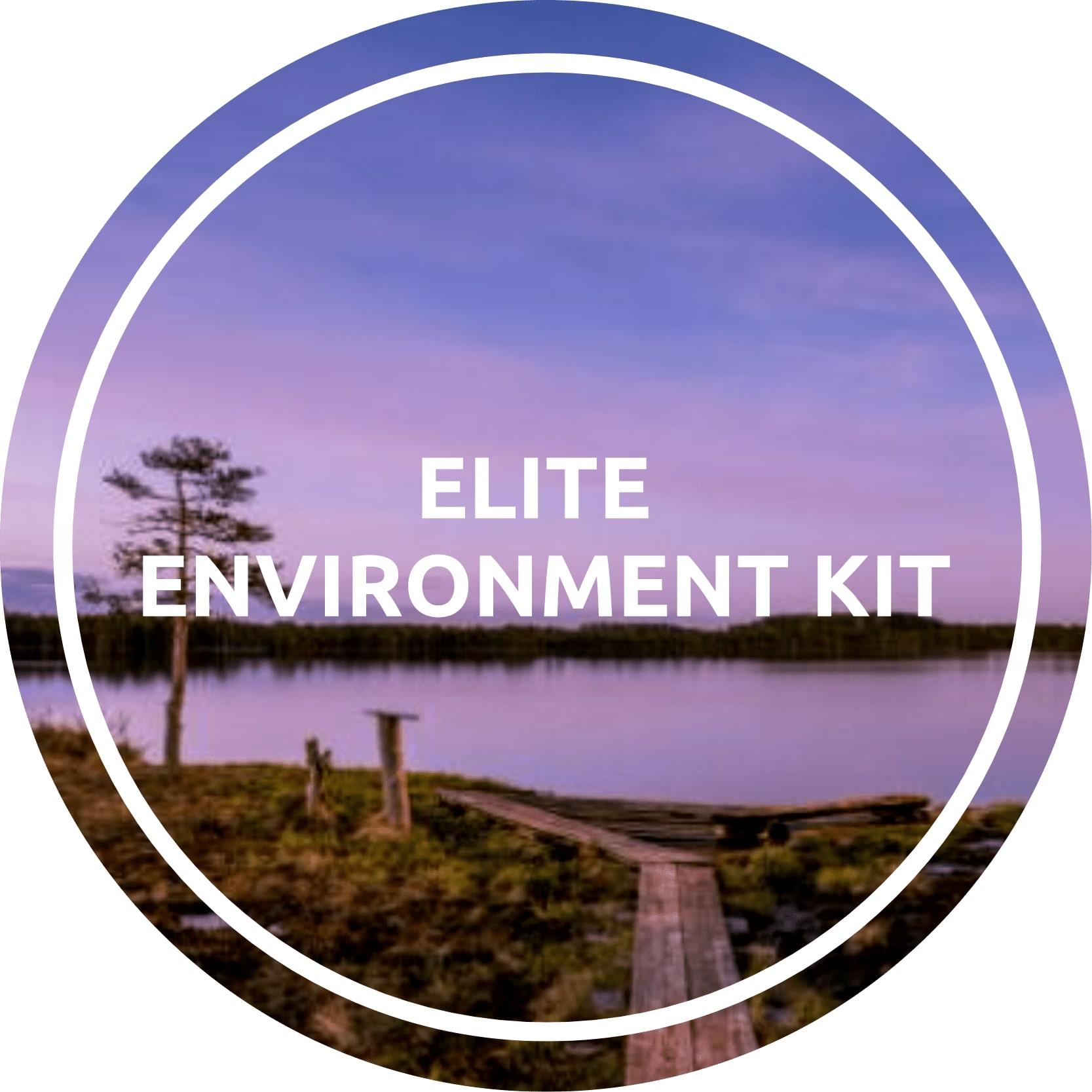 L'Elite Environment kit include BLE-B, ENV, PRT, RHT, UVA, SMS, IB3, IB2, PCB, RPS e FIX con housing